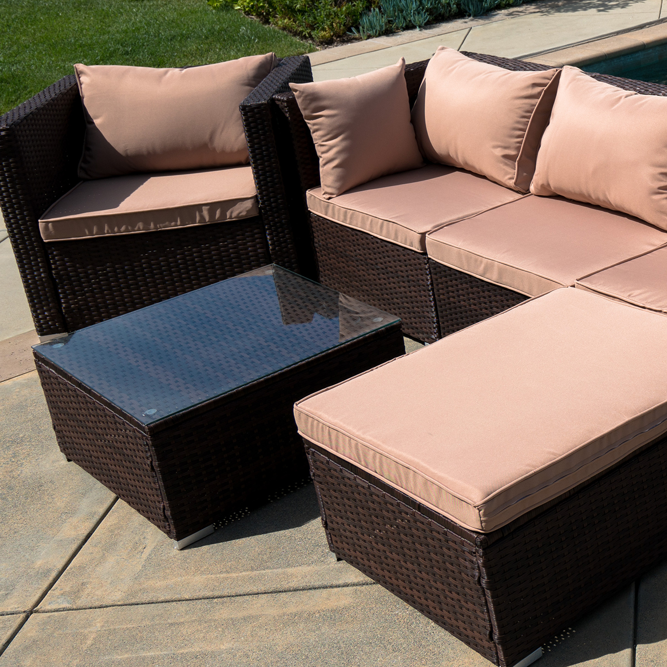 Wicker Rattan Chair 6pc Outdoor Patio Furniture Sectional Rattan Wicker Sofa