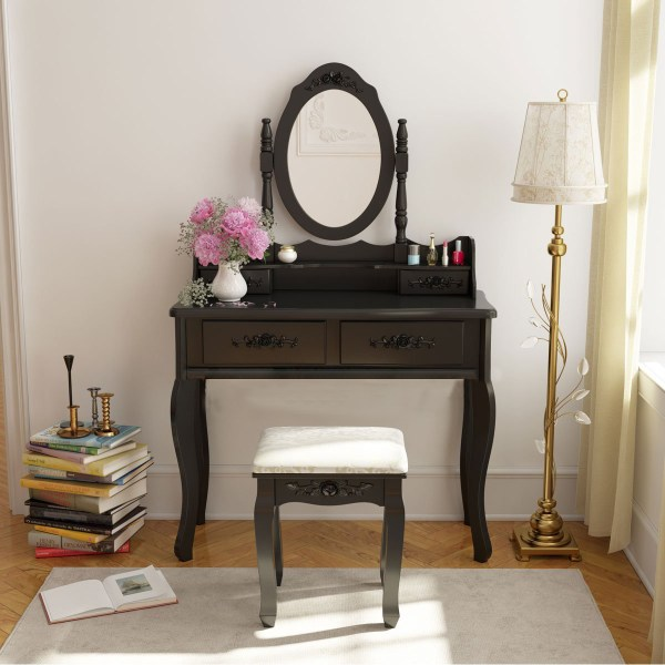 Vanity Makeup Dressing Jewelry 4-drawer Table Set With Stool