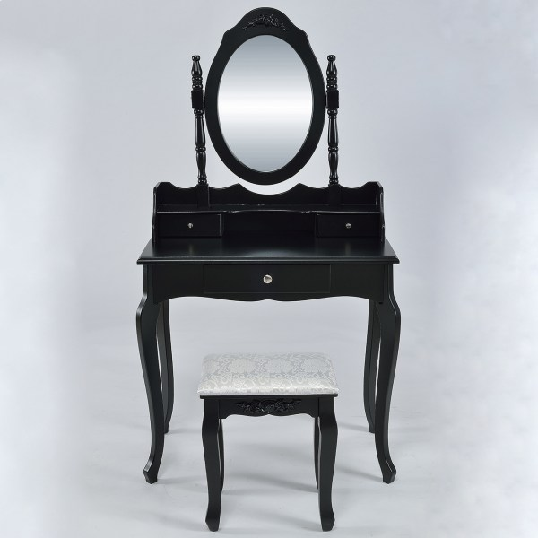 3-drawer & Mirror Makeup Vanity Jewelry Table Set With