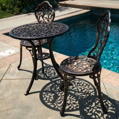 Outdoor Chair Set Vintage Metal 3pc Bistro Patio Table Chairs Ivory Furniture Balcony