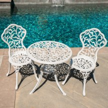 Patio Table Chairs Set Ivory Iron Furniture Balcony Pool