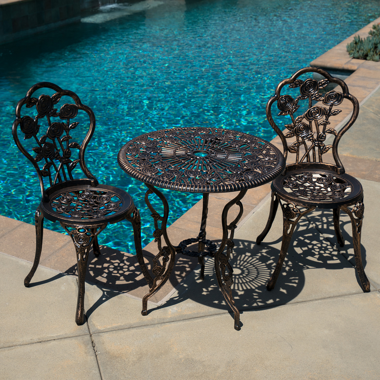 Outdoor Patio Furniture 3pcs Cast Aluminum Bistro Set