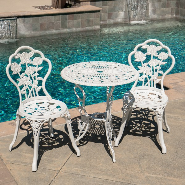 White Cast Aluminum Bistro Sets for Outdoors