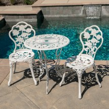 Outdoor Patio Furniture Cast Aluminum Tulip Design Bistro