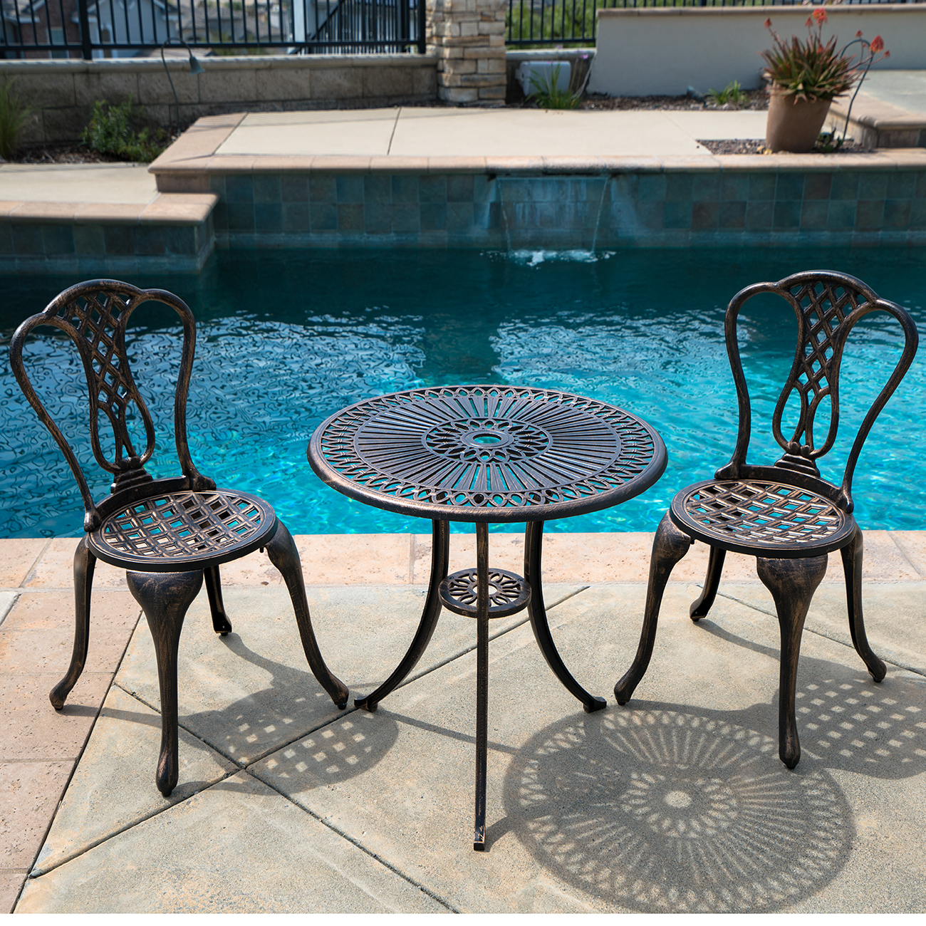 patio bistro table and chairs cristo cross back chair white 3pcs outdoor cast aluminum