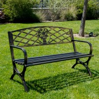 Outdoor Bench Patio Chair Metal Garden Furniture Deck ...