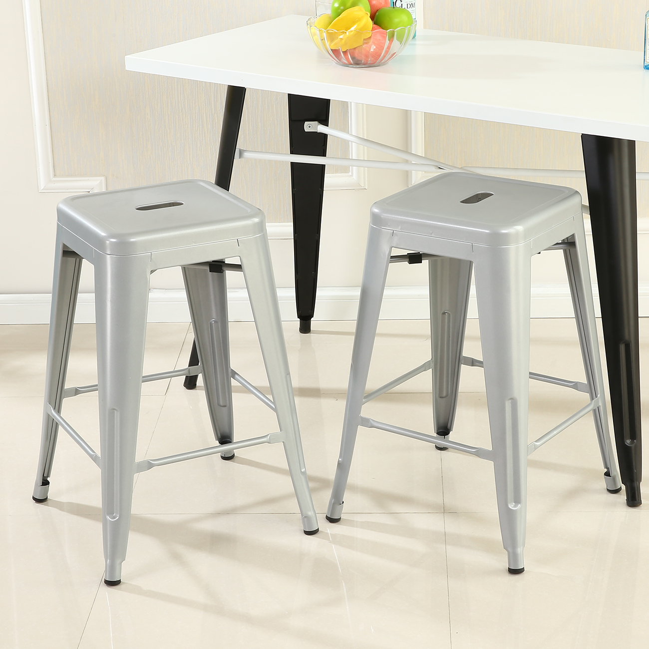 Metal Counter Height Chairs 2 Pcs Modern Style Bar Stool Metal Stackable Stools Height
