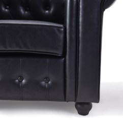Cream Leather Accent Chairs Chair Cover Hire In Ipswich Elegant Black Pu Tufted Round Armrest Scroll