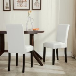 Parson Dining Room Chair Sets Baxton Studio Modern Leather Accent Black And Chrome Elegant Parsons Living