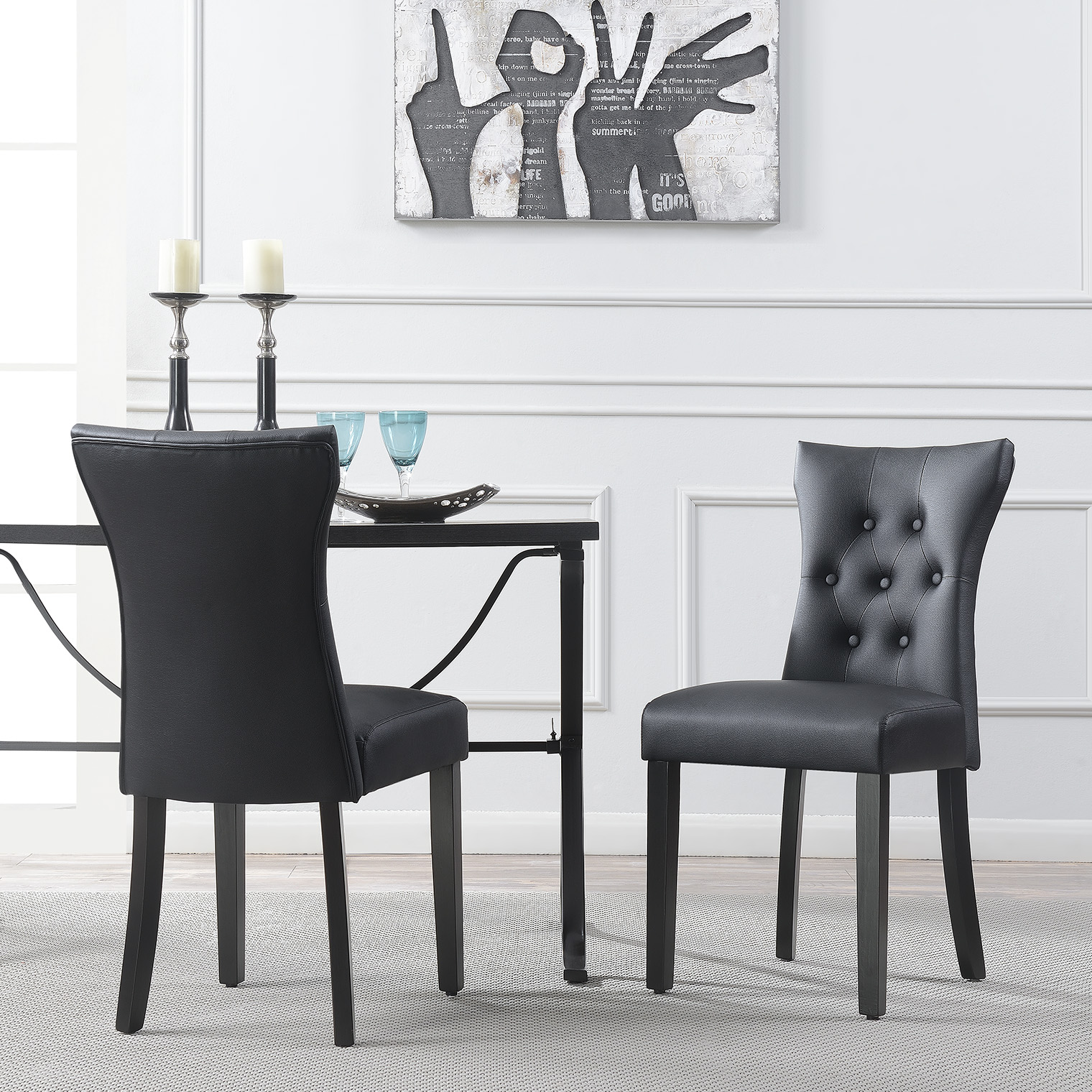 Leather Dining Chairs With Nailheads Set Of 2 Modern Dining Chair Faux Leather Nailhead