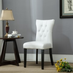 Black White Dining Chair Legs Caps Set Of 2 Modern Faux Leather Nailhead