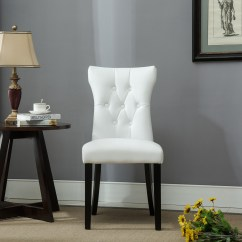 Nailhead Upholstered Dining Chair Massage Recliner Chairs Set Of 2 Modern Faux Leather