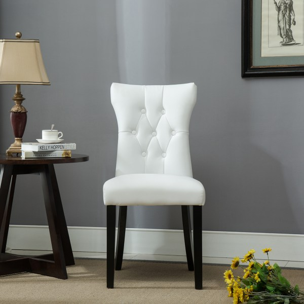 White Leather Nailhead Dining Chair