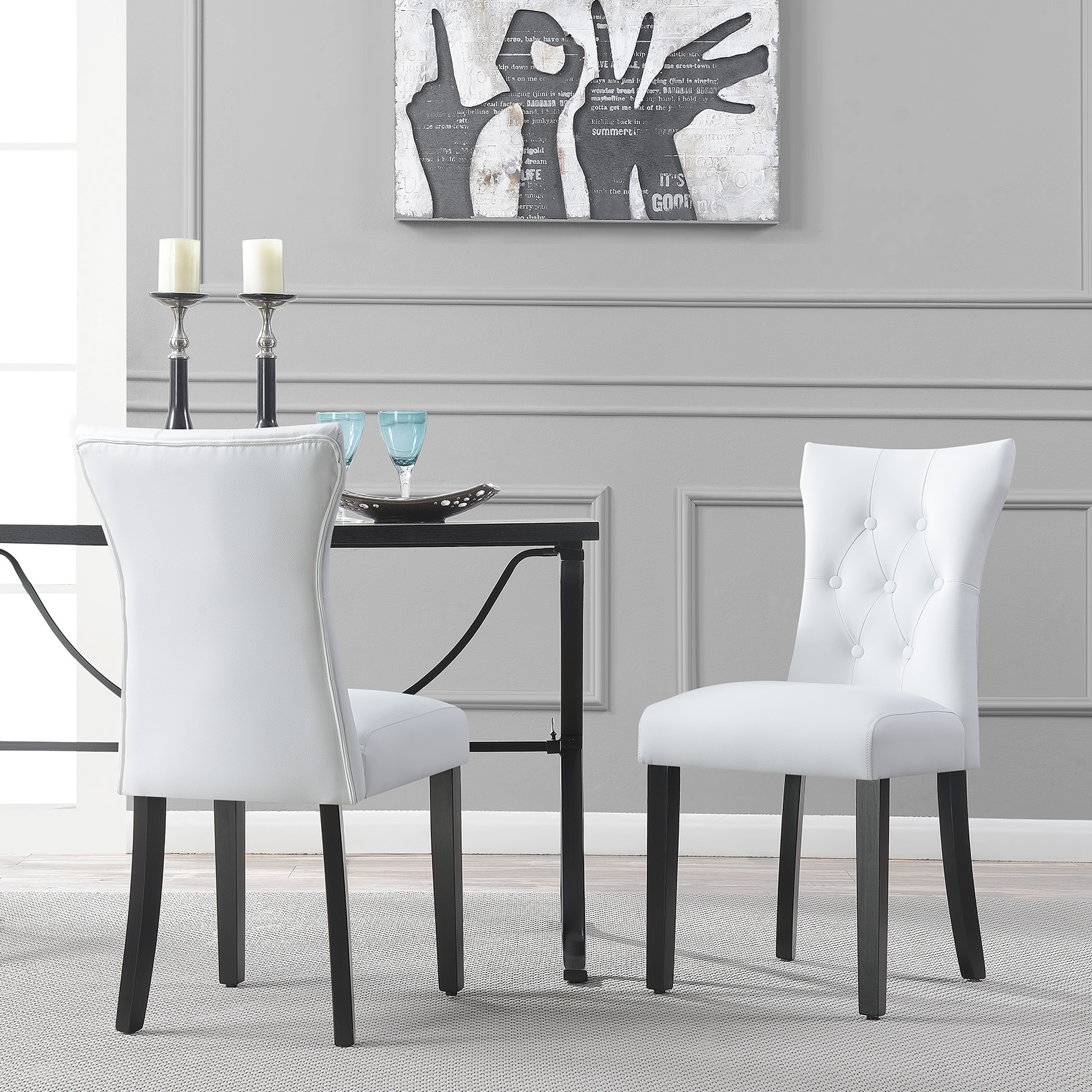 White Dining Chairs Details About Modern Leather Tufted Back Elegant White Dining Chair Nailhead Accent Set Of 2