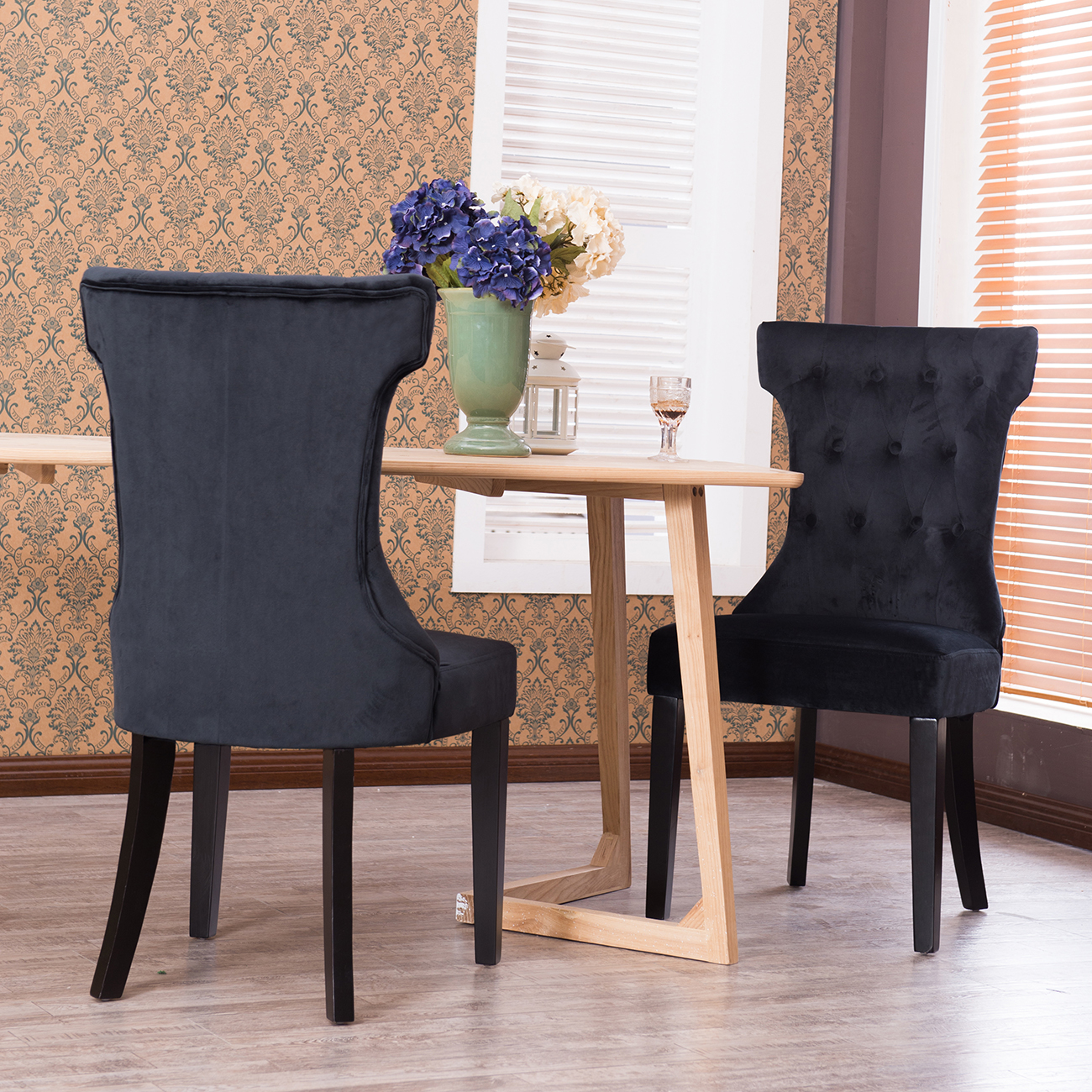 tufted dining room chairs intex inflatable pull out chair set of 2 modern living furniture faux