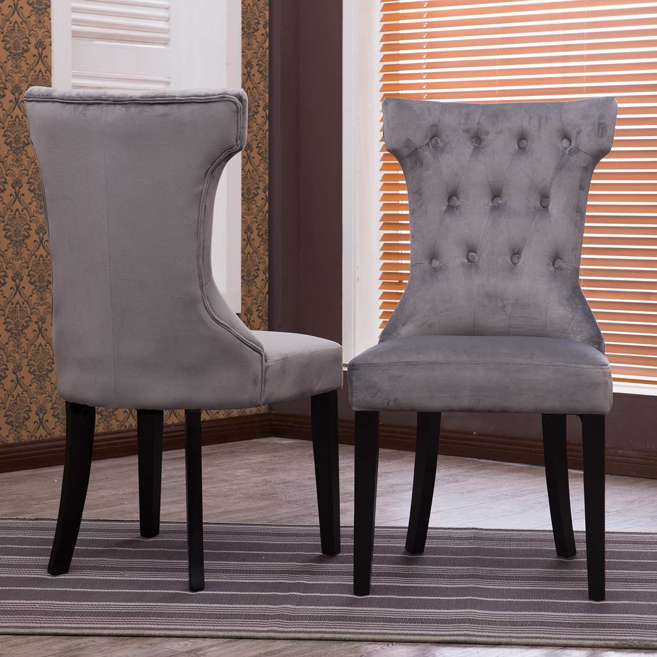 Gray Dining Room Chairs Set Of 2 Accent Dining Chair Fabric Tufted Modern Living