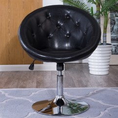 Vanity Chair With Back Leather And Wood Round Swivel Black Makeup Vinyl Stool