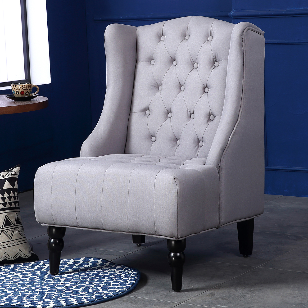 tufted nailhead chair custom director s los angeles wingback accent tall high back living room