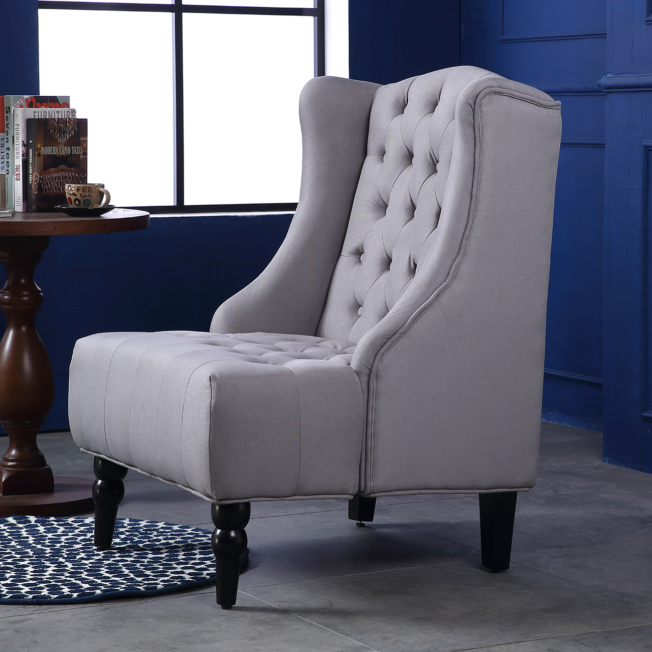 best lounge chair for living room monarch specialties dining chairs wingback accent tall high back tufted