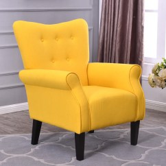Accent Chair Yellow Outside Tables And Chairs For Restaurants Arm Single Sofa Linen Fabric Upholstered
