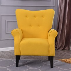 Accent Chair Yellow Rocking And Ottoman Covers Arm Single Sofa Linen Fabric Upholstered