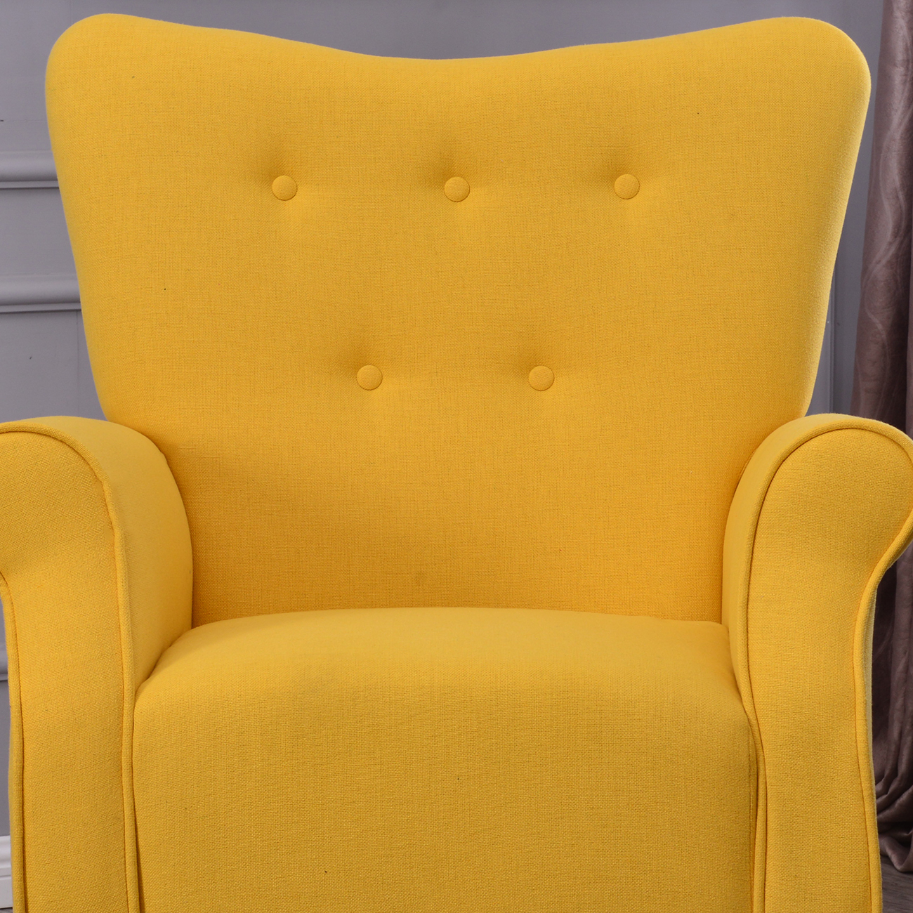 yellow upholstered accent chair leather recliner swivel arm single sofa linen fabric
