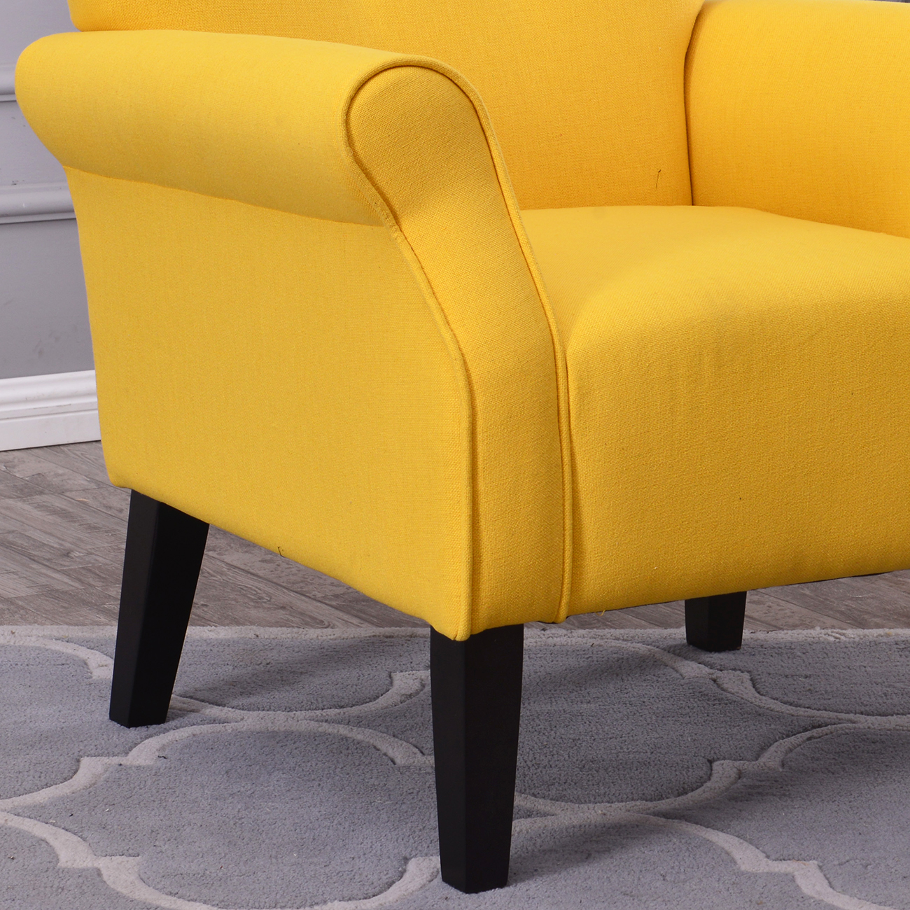 yellow upholstered accent chair cheap leather arm single sofa linen fabric