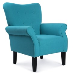 Accent Chair Teal Metal Chairs Folding Elegant Design Fabric Club W Button Arm Rest