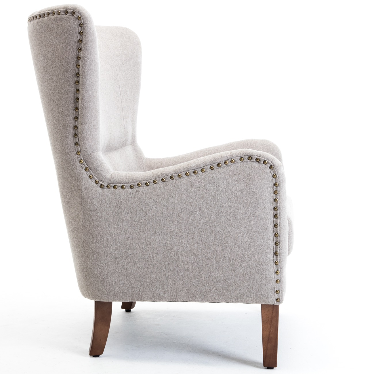 accent wingback chairs diy vanity chair mid century curved high back arm nailhead w
