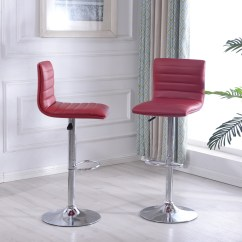 Leather Pub Chair Rattan Chairs Indoor Nz Modern Set Of 2 Bar Stools Adjustable Swivel In