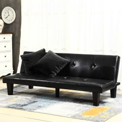 Convertible Futon Sofa Bed Lounger Tribeca Stylus Black Leather Faux Fold Down Lounge