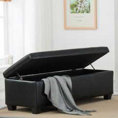 Faux Leather Sofa Bed With Storage Ersatzbezuge Black Foot Rest Ottoman Bench ...