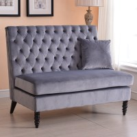 Velvet Modern Tufted Settee Bench Bedroom Sofa High Back ...