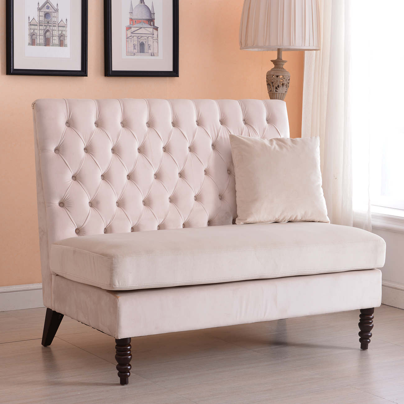 Tufted High Back Chair Details About Velvet Modern Tufted Settee Bench Bedroom Sofa High Back Love Seat Beige Gray