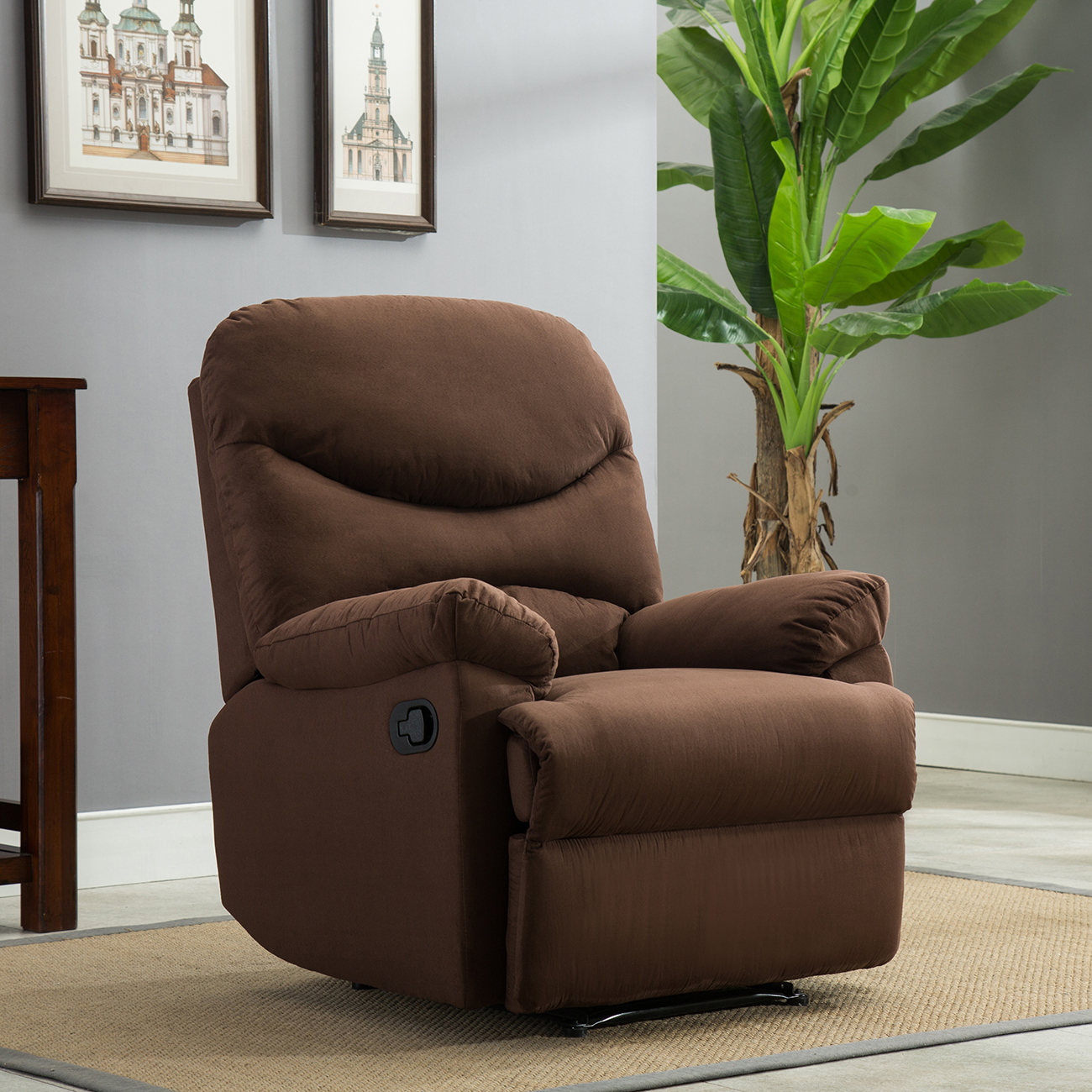 chocolate brown living room chairs furniture for rooms recliner chair microfiber reclining home