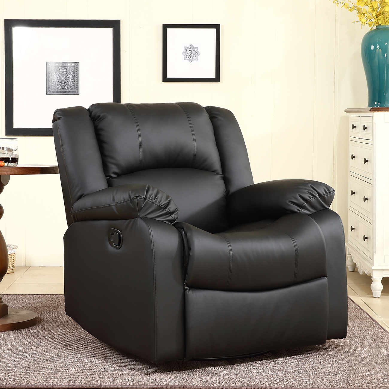 Black Swivel Chair New Recliner And Rocking Swivel Chair Leather Seat Living