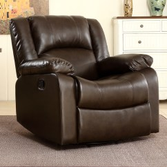 Swivel Reclining Chairs For Living Room Corner Wall Units Bonded Faux Leather Rocker And Recliner Chair Glider Brown