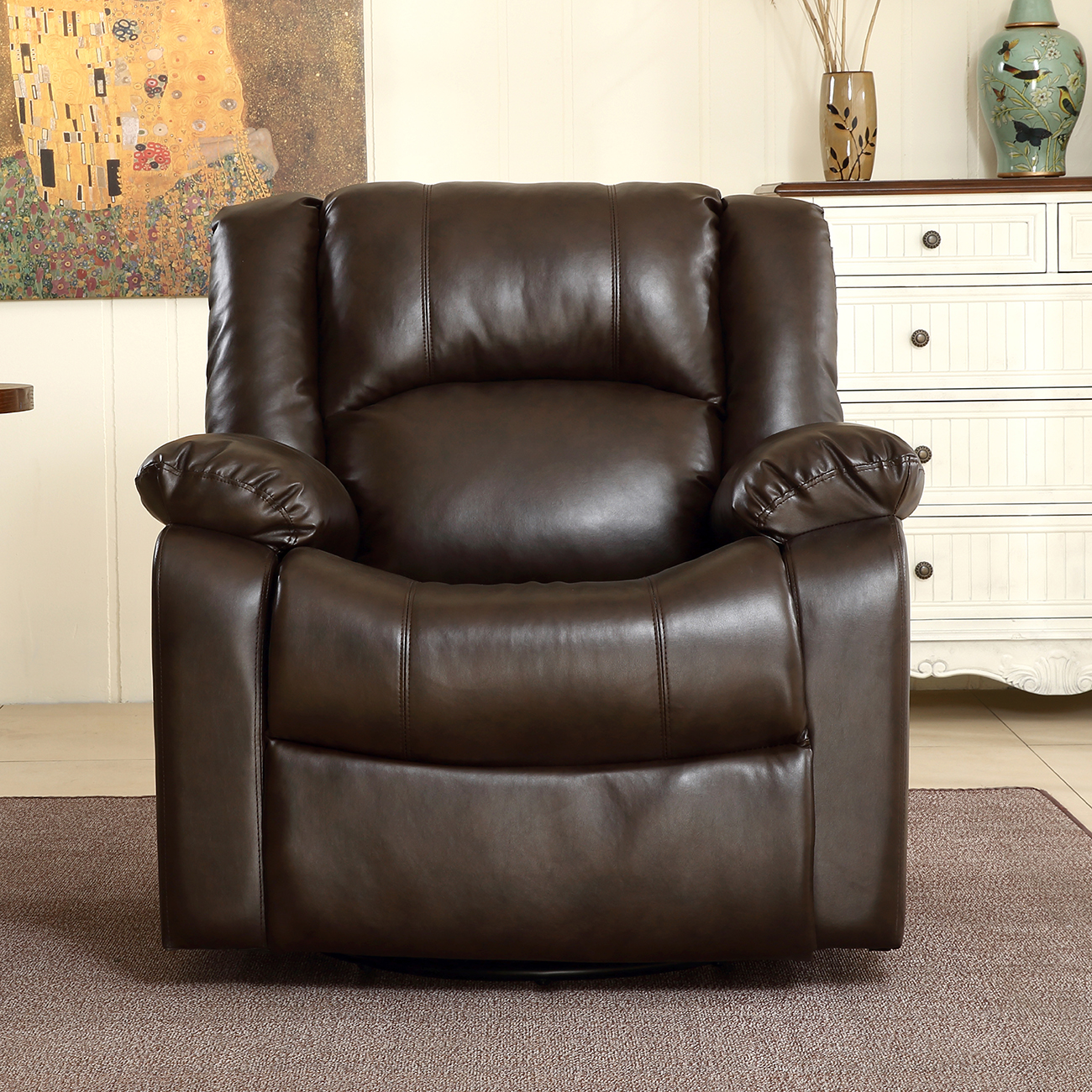 Black Living Room Chair New Recliner And Rocking Swivel Chair Leather Seat Living