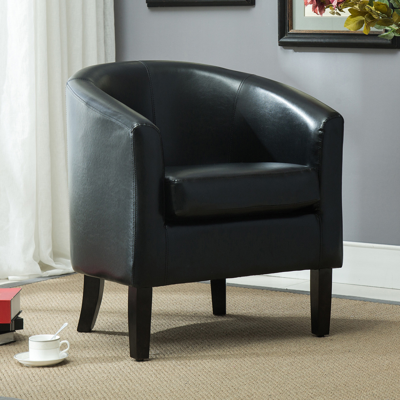 Black Barrel Chair Elegant Tub Barrel Design Faux Leather Club Chair Style