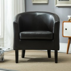 Brown Leather Tub Chair With Footstool Cover Rental Columbus Club Faux Armchair Seat Accent Living