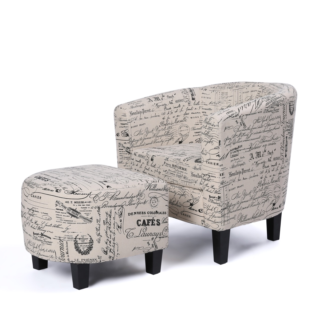 Script Chair Details About Accent Barrel Chair W Ottoman Round Arms Curved Back French Print Script