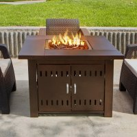 NEW Outdoor Fire Pit Square Table Firepit Propane Gas Fire ...
