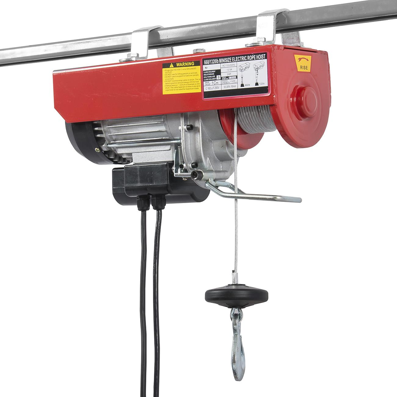 1300 Lbs Mini Electric Wire Hoist Remote Control Garage