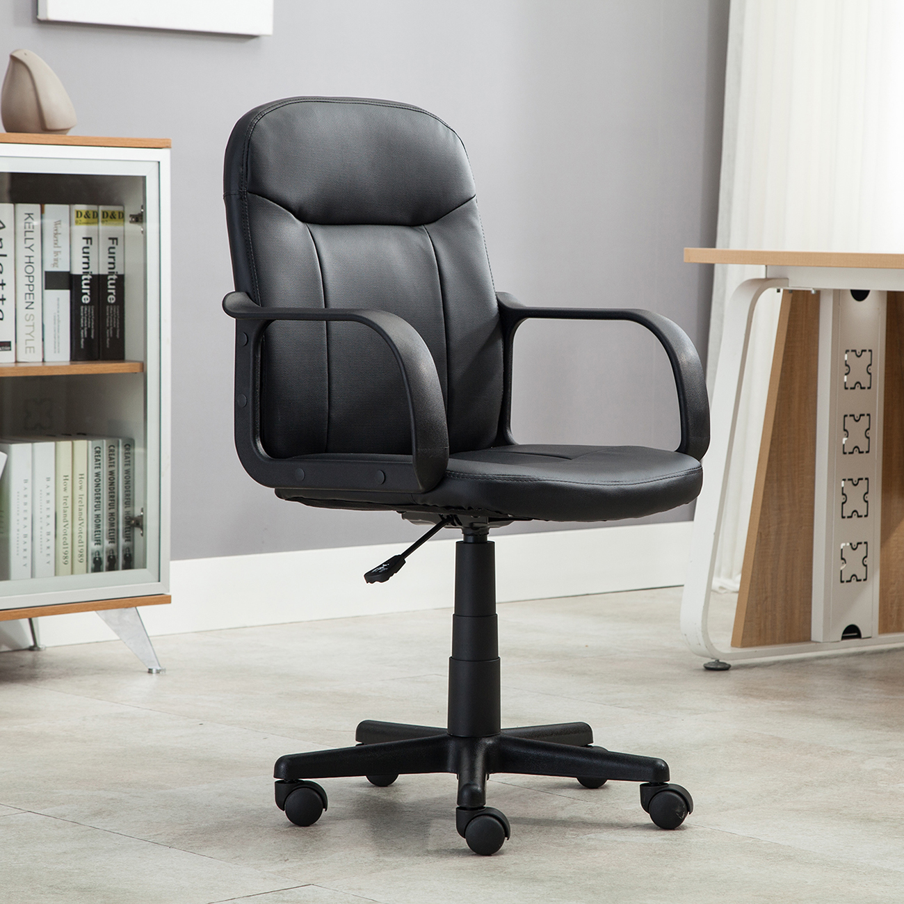 modern black leather desk chair jenny lind high for sale office executive pu computer