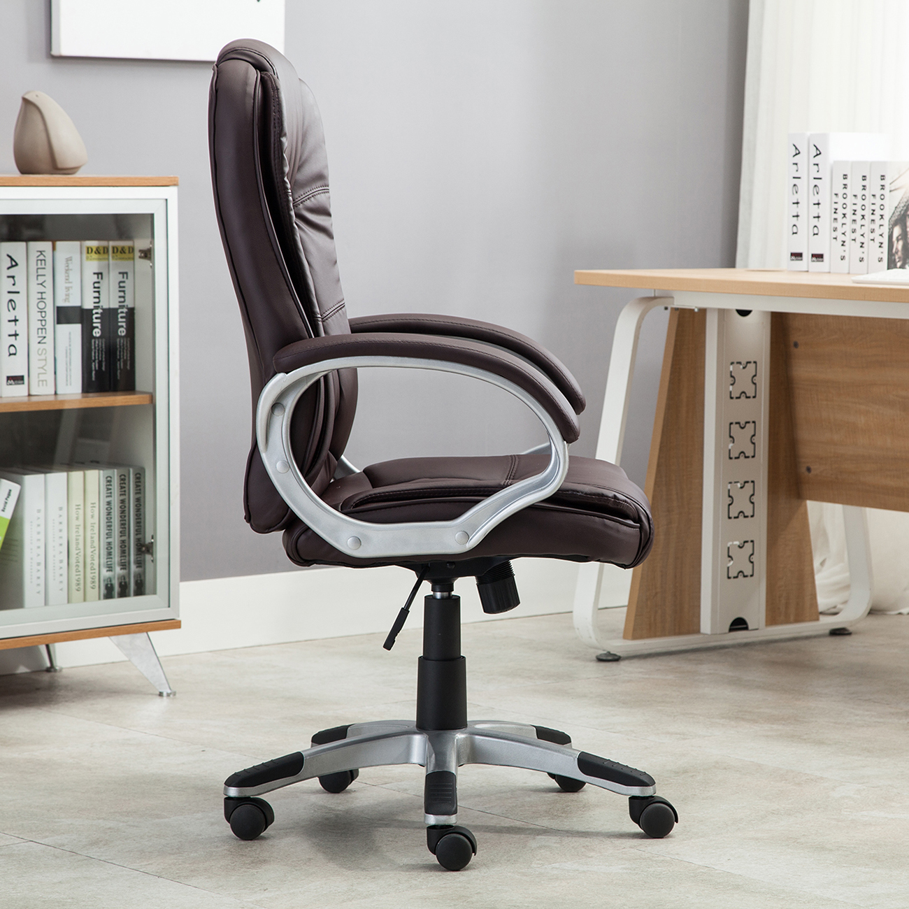 white leather modern office chair tommy bahama chairs black brown pu executive computer