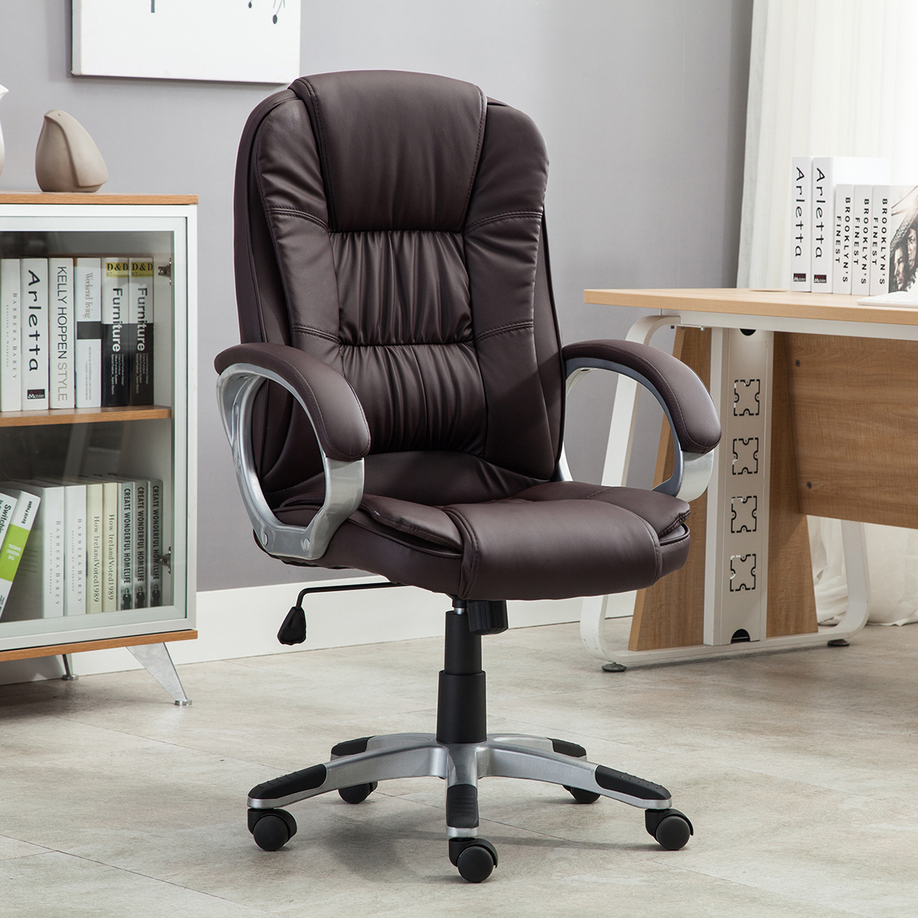 Brown Computer Chair Black Brown White Pu Leather Modern Executive Computer