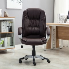 Modern Black Leather Desk Chair Tot Spot Brown White Pu Executive Computer