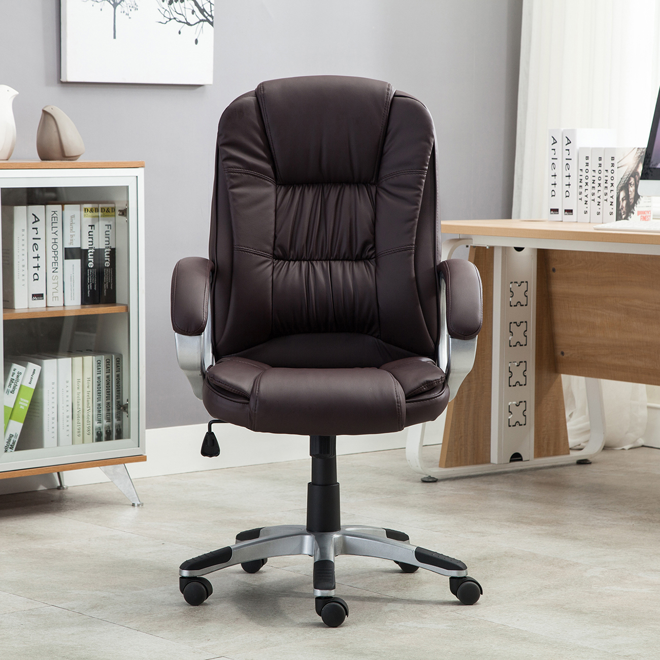 Brown Leather Office Chairs Black Brown White Pu Leather Modern Executive Computer