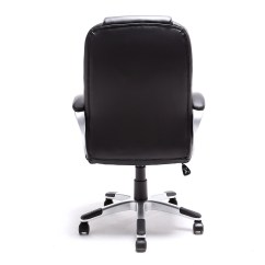 Modern Black Leather Desk Chair Lounge With Ottoman Brown White Pu Executive Computer