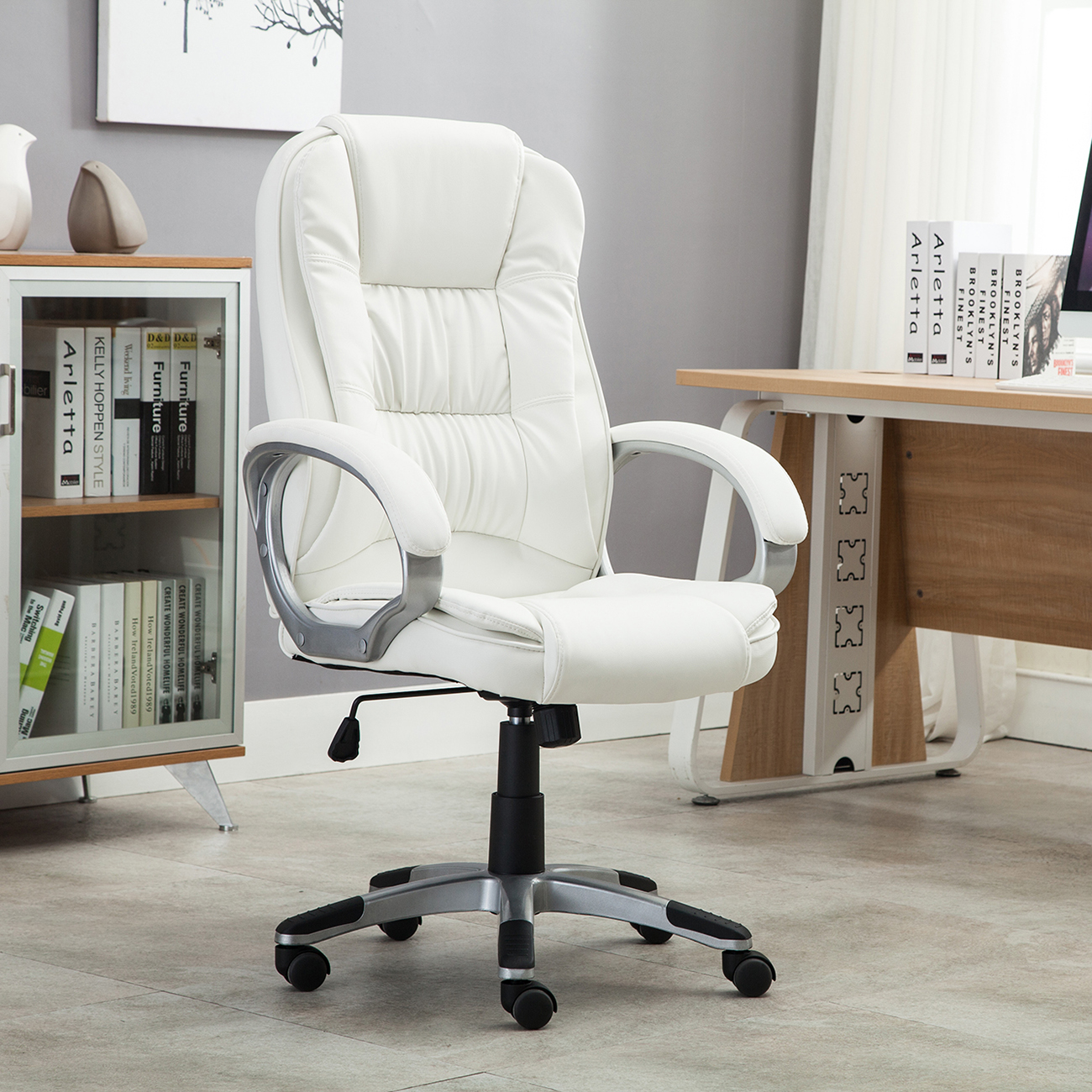 Comfortable Office Chairs White Pu Leather High Back Office Chair Executive